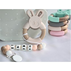 Personalised Bunny Sillicone Teether ,Dummy Clip Baby Teether Beige Rabbit