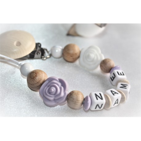 Personalised dummy clip, Lilla/ White rose chain