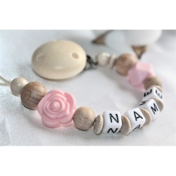 Personalised dummy clip, Pink rose wooden chain