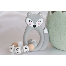 Baby Gift Newborn Teether Personalised Silicone Teething - GREY FOX