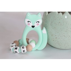 Baby Gift Newborn Teether Personalised Silicone Teething - MINT FOX
