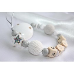 Personalised dummy clip, White /Grey Crochet & Shiny Star wooden chain