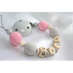 Personalised dummy clip, White & Grey Crochet wooden chain