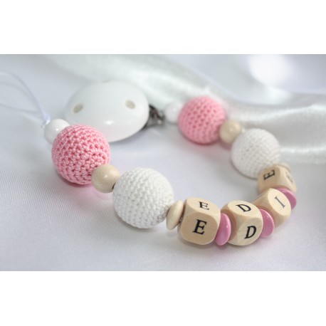 Personalised dummy clip, White & Pink crochet wooden chain