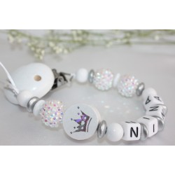 White Shiny Glitter Crown Personalised Wooden Dummy clip / Chain