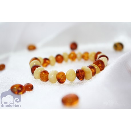 Genuine Baltic Amber Baby Teething Bracelet Mat honey & Cognac