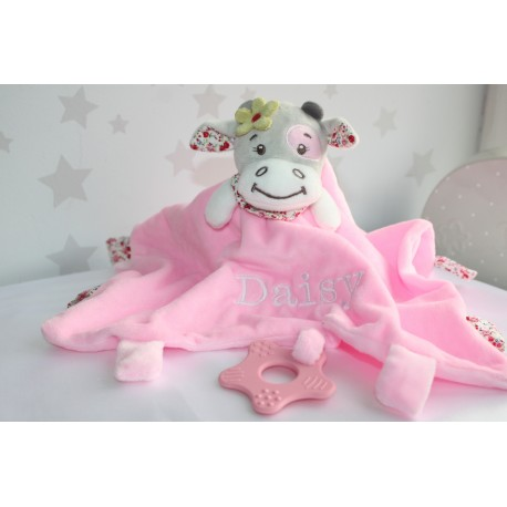 Personalised Pink Cow Comforter / Tags Blanket / Teether Blanket / Knotted Blanket / Activity Baby Blanket / Soother Blanket