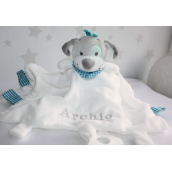 Personalised Dogi Comforter / Tags Blanket / Teether Blanket / Activity Baby Blanket / Soother Blanket