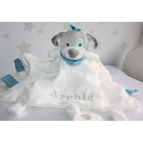 Personalised Dogi Comforter / Tags Blanket / Teether Blanket / Activity Baby Blanket / Soother Blanket