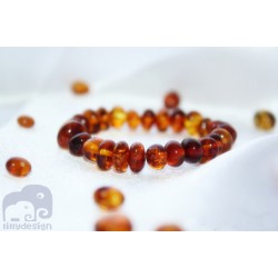 Genuine Baltic Amber Baby Teething Bracelet or Anklet in Cognac