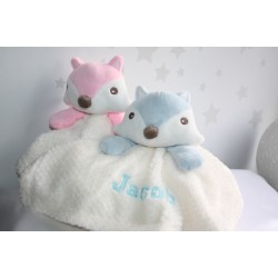 Personalised Comforters FOX , Blue & Pink Baby Blankets