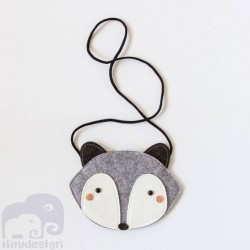 cute raccoon bag designed by Mini Dressing. Fox felt bag - gray