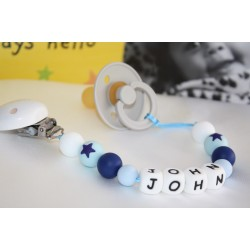Blue Stars Silicone Personalised Dummy clip / Chain