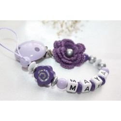 Personalised Purple Crochet flower Wooden Dummy Clip /wooden pacifier holder pacifier chain