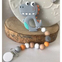 Baby Teether DINO - GREY /Silicone Teether/Silicone Pacifier/Baby Holder/Strap for Teether