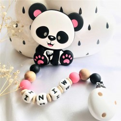 Personalised Sillicone Teether ,Dummy Clip Baby Teether - PINK Panda