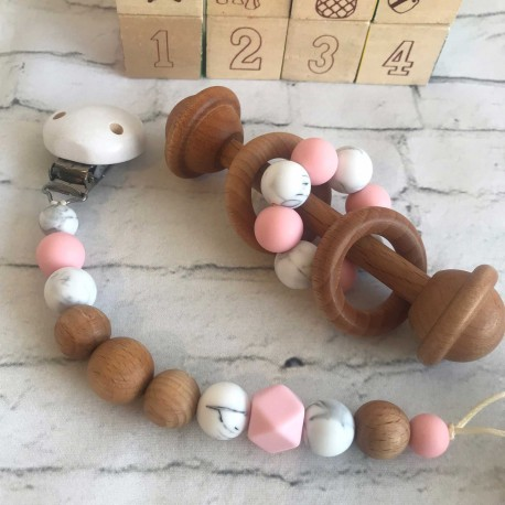 Wooden Rattle /Dummy Clip/ Silicone dummy chain/ Wooden dummy Clip / Pink , Marble -