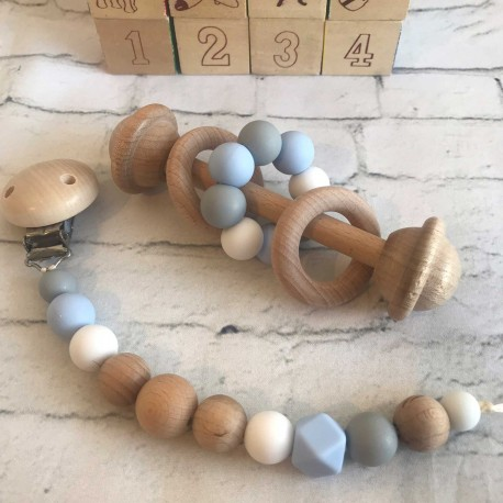Wooden Rattle /Dummy Clip/ Silicone dummy chain/ Wooden dummy Clip /Blue ,Grey , White