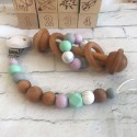 Wooden dummy Clip / Mint , Marble - Wooden Silicone Rattle, Wooden Teether ,Baby gift