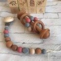 Dummy Clip/ Silicone dummy chain/ Wooden dummy Clip / Purpur..- Wooden Silicone Rattle, Wooden Teether ,Baby gift