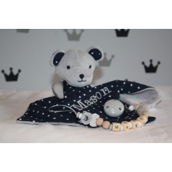 Personalised Grey Teddy Bear Star Print Snuggle / Baby shower gift / First Baby toys / Personalised Blanket / Baby Gift Set