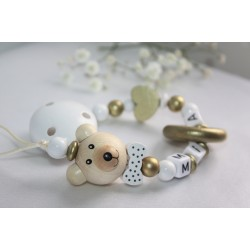 3D Teddy Bear & Teething Personalised Wooden Dummy Chain, Dummy Clip, Pacifer clip, Baby Teether, Baby shower Gift
