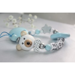 3D BLUE Teddy Bear & Teething Personalised Wooden Dummy Chain, Dummy Clip, Pacifer clip, Baby Teether, Baby shower Gift