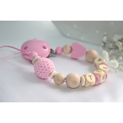 Wooden Dummy clip , Personalised Pink Heart Crochet Chain