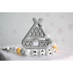 Personalised Teether - Baby Teether Teepee - Silicone Teether - Baby Modern Gift - Baby Teether Gum - Personalised Clip