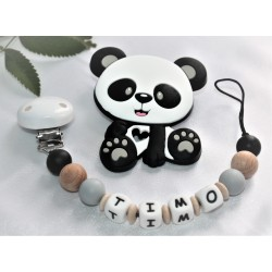 Personalised Sillicone Teether ,Dummy Clip Baby Teether - GREY Panda