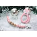 Pink FOX Silicone teether & Dummy clip