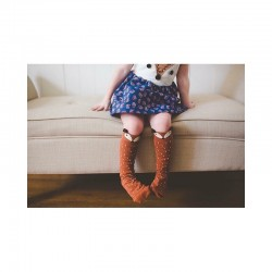Raccoon Knee Socks - Mini Dressing Brown -M / 3-4 years