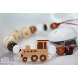Natural Train Personalised Wooden Dummy clip / Chain
