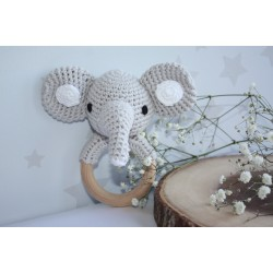 Elephant Crochet baby teething rattle, Elephant teething toy