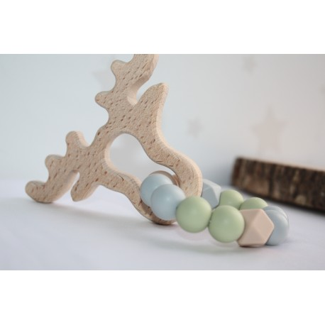 Wooden and Silicone Deer Teether Teething Ring Baby
