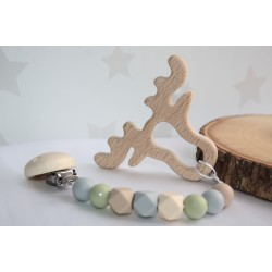 Natural Non Toxic Silicone / Wooden Teether dummy clip - Woodland Animals
