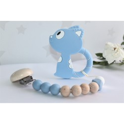 Blue Cat baby gift, silicone & beechwood teether