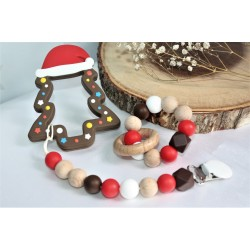 Christmas Tree ,Teething Set , Silicone Teether / Brown
