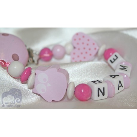 Pink Owl Personalised Wooden Dummy Clip / Chain / Holder / Pacifier
