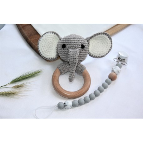 Elephant Baby Gift Set -Crochet Teether & Silicone Dummy Clip
