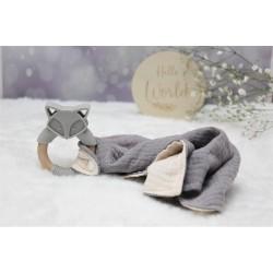 Silicone FOX Teether & Cotton Muslin Comforter Blanket
