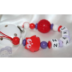 Red Owl Personalised Wooden Dummy Clip / Chain / Holder / Pacifier