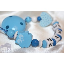 Blue Owl Personalised Wooden Dummy Clip / Chain / Holder / Pacifier