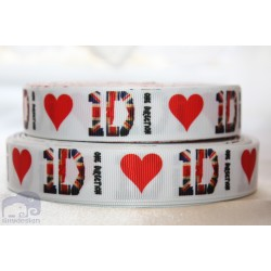 * ONE DIRECTION - White * Printed Grosgrain Ribbon 22mm -Crafts