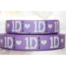 * ONE DIRECTION - Purple * Printed Grosgrain Ribbon 22mm -Crafts