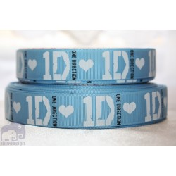 * ONE DIRECTION - Blue * Printed Grosgrain Ribbon 22mm -Crafts