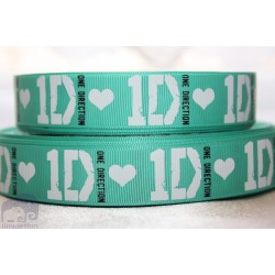 * ONE DIRECTION - Green * Printed Grosgrain Ribbon 22mm -Crafts