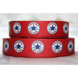* CONVERSE all STAR - Red * Printed Grosgrain Ribbon 22mm -Crafts