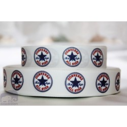 * CONVERSE all STAR - white * Printed Grosgrain Ribbon 22mm -Crafts