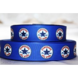 * CONVERSE all STAR - dark Blue * Printed Grosgrain Ribbon 22mm -Crafts